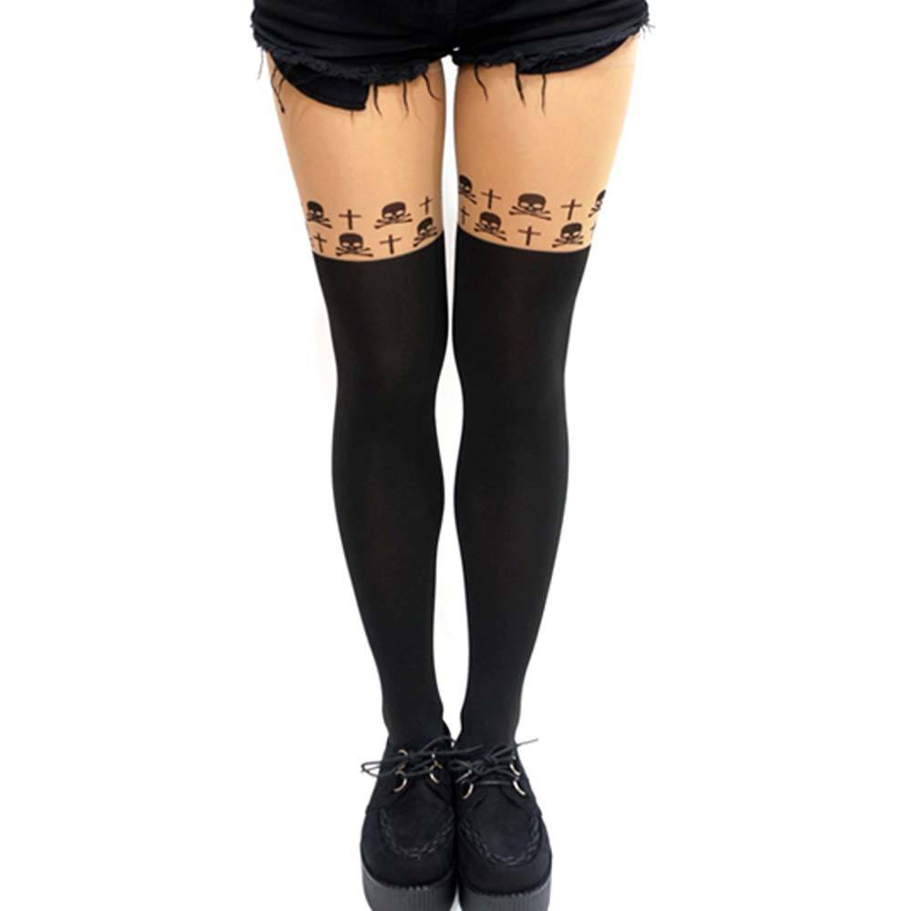 Gothic Skulls and Cross Print Mock Thigh High Garter Sheer Tights