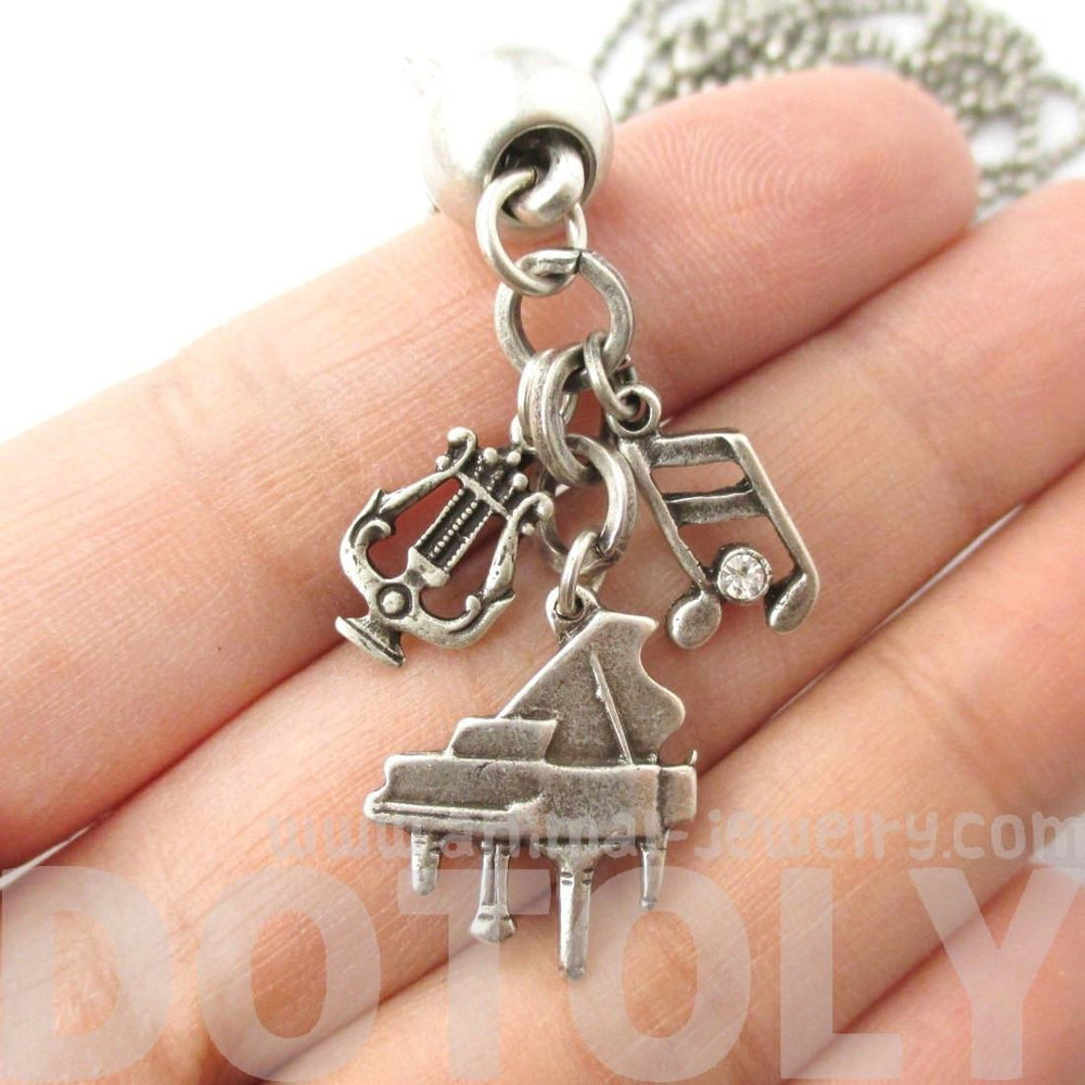 Grand Piano and Musical Notes Shaped Music Themed Charm Necklace