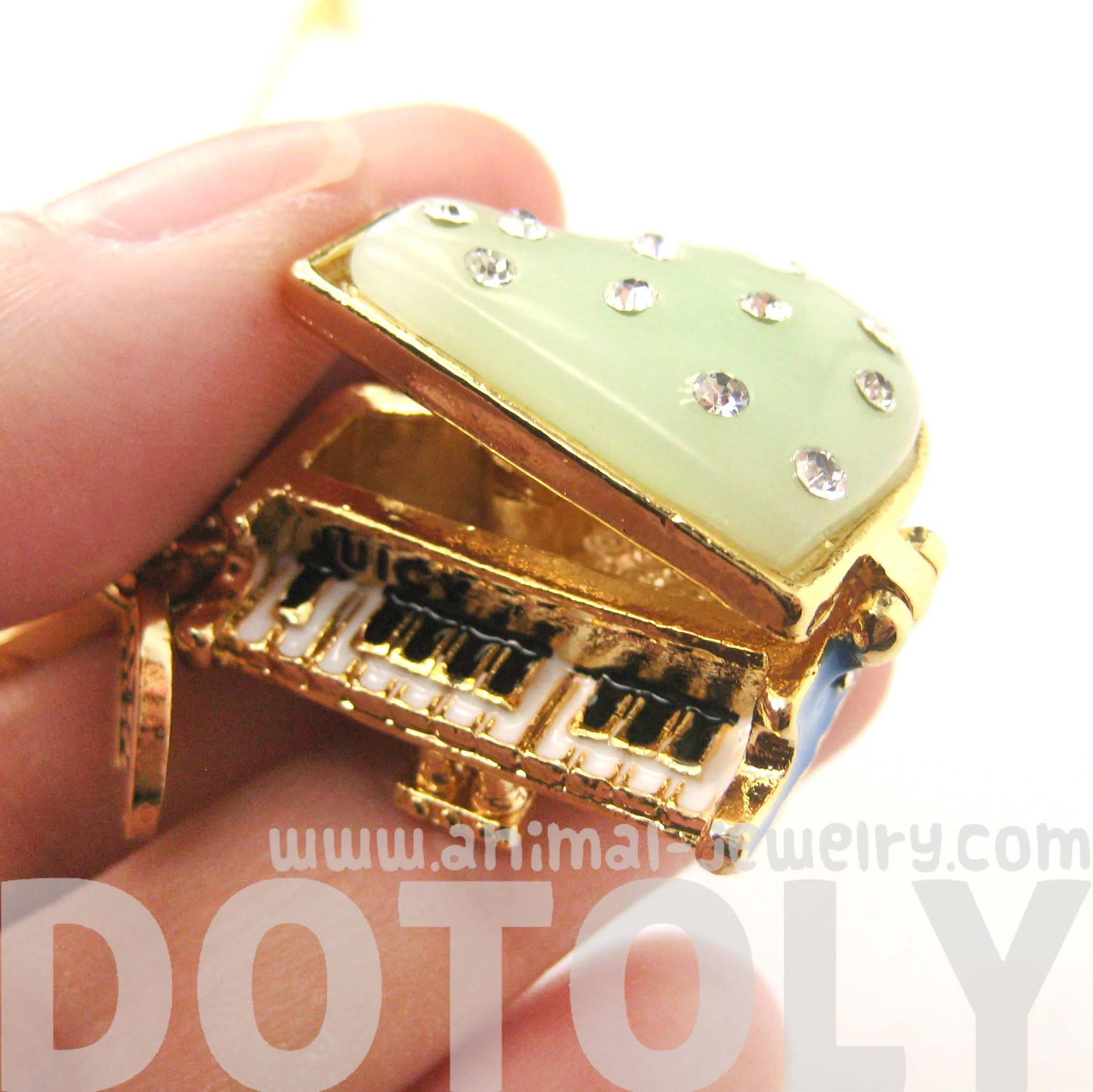 Grand Piano Shaped Locket Pendant Necklace with Rhinestones | DOTOLY