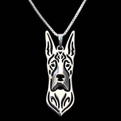 Great Dane Puppy Dog Cut Out Shaped Pendant Necklace