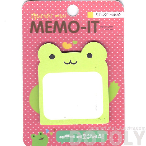Green Froggy Frog Shaped Animal Themed Memo Sticky Post-it Note Pad