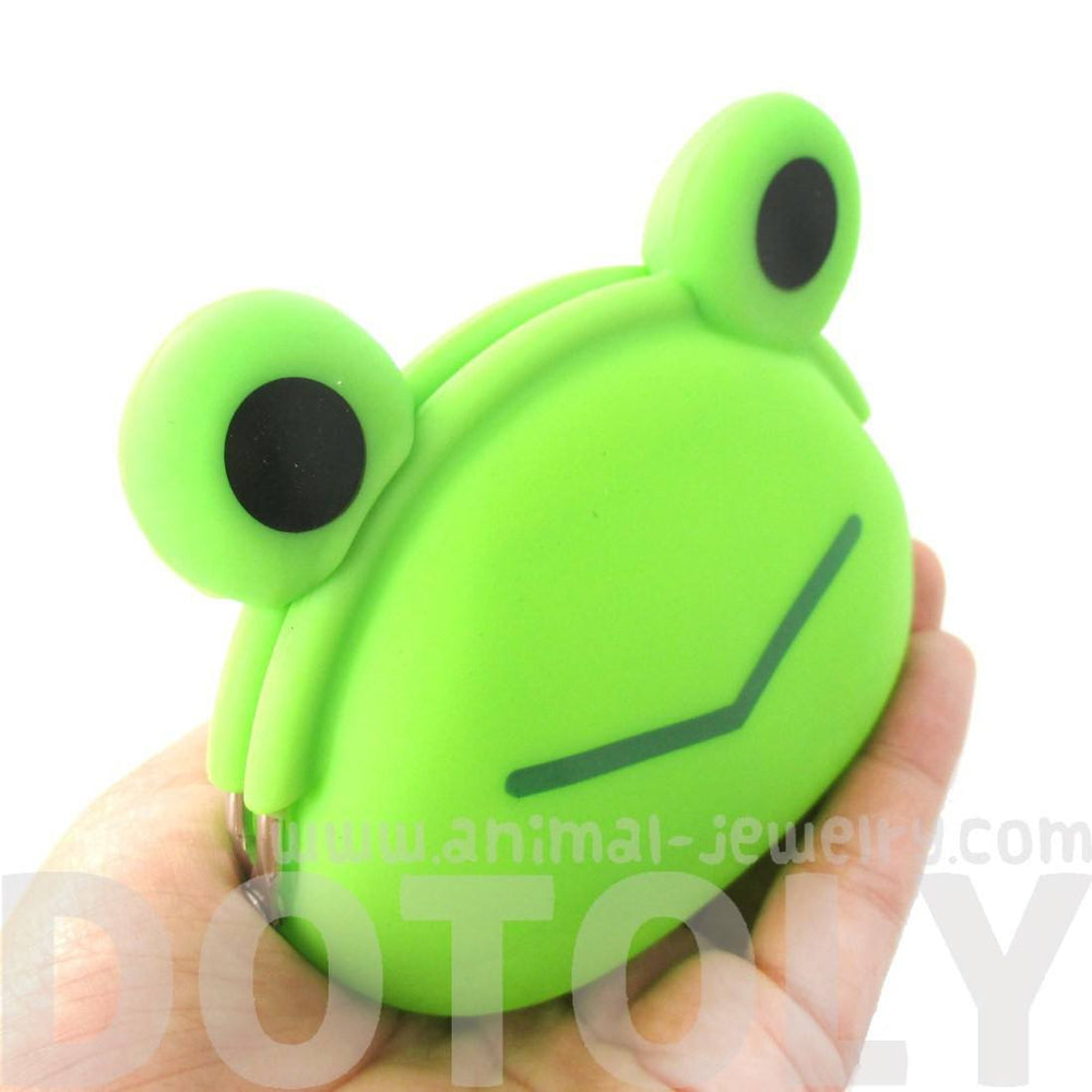 Green Froggy Frog Shaped Animal Friends Silicone Clasp Coin Purse