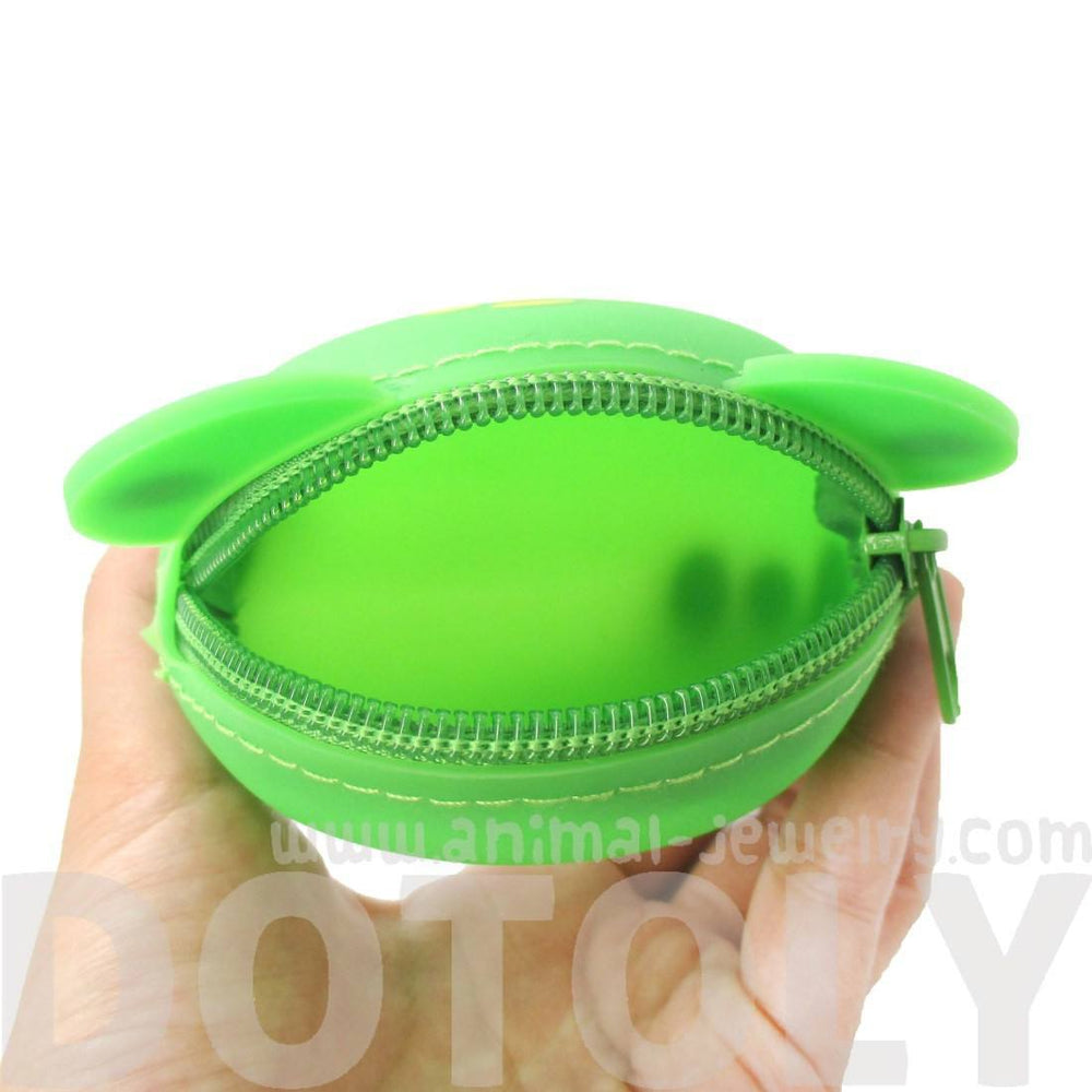 Green Froggy Frog Shaped Mimi Pochi Animal Friends Silicone Zipper Coin Purse Pouch | DOTOLY