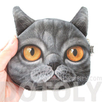British Shorthair Cat Face Shape Coin Purse Make Up Bag