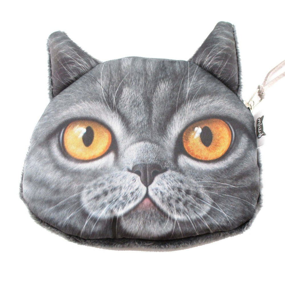Grey British Shorthair Cat Face Shaped Coin Purse Make Up Bag | DOTOLY