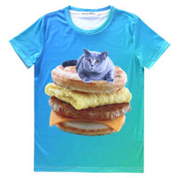 Grey Chartreux Kitty Cat on a Sausage Egg McMuffin Graphic Print T-Shirt | Gifts for Cat Lovers | DOTOLY