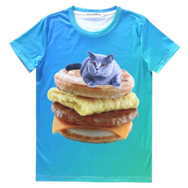 Chartreux Kitty Cat on Sausage Egg McMuffin Graphic Tee