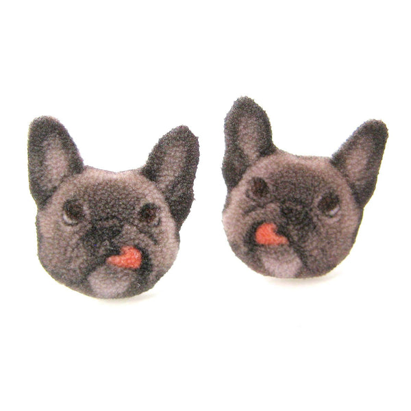 Grey Frenchie Puppy Dog Animal Head Shaped Stud Earrings | Handmade