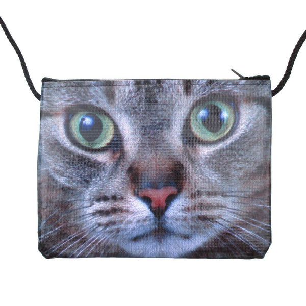 Grey Kitty Cat Close Up Face Print Rectangular Shaped Cross Body Bag