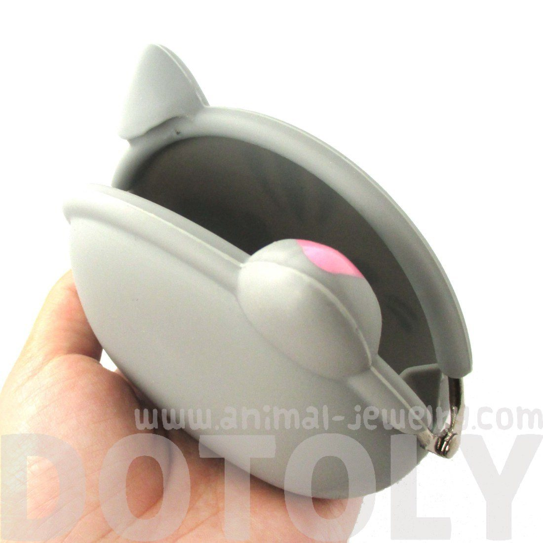 Grey Kitty Cat Face Shaped Animal Friends Silicone Clasp Coin Purse
