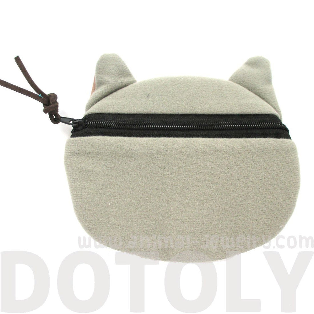 Grey Kitty Cat Face Shaped Coin Purse Make Up Bag with Turquoise Eyes