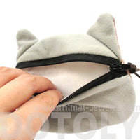 Grey Kitty Cat Face Shaped Soft Fabric Zipper Coin Purse Make Up Bag
