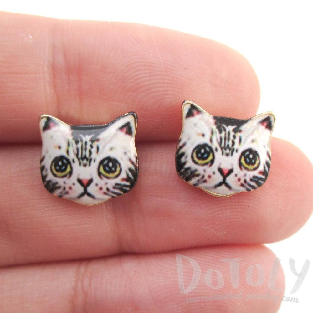 Grey Kitty Cat Hand Drawn Face Shaped Stud Earrings | Animal Jewelry