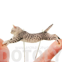Grey Striped Kitty Cat Jumping in Mid Air Shaped Pendant Necklace