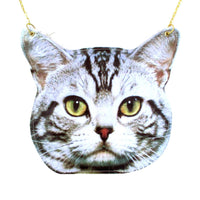 Grey Striped Tabby Kitty Cat Head Animal Shaped Vinyl Cross Body Bag