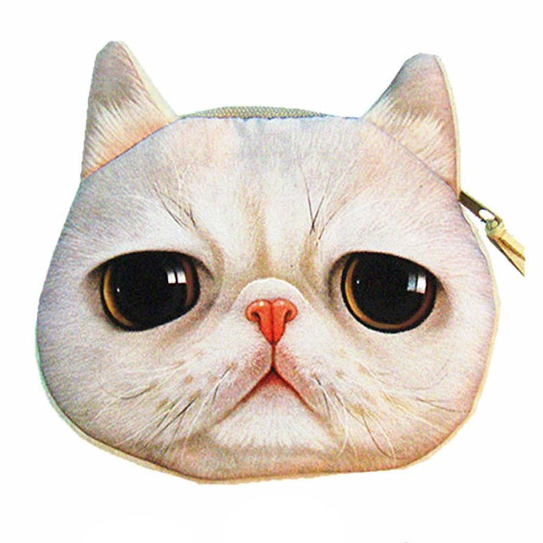 Grey Tabby Kitty Cat Face Shaped Soft Fabric Coin Purse Make Up Bag