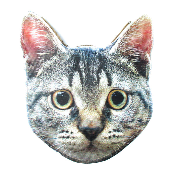 Grey Tabby Kitty Cat Head Shaped Vinyl Animal Photo Print Clutch Bag