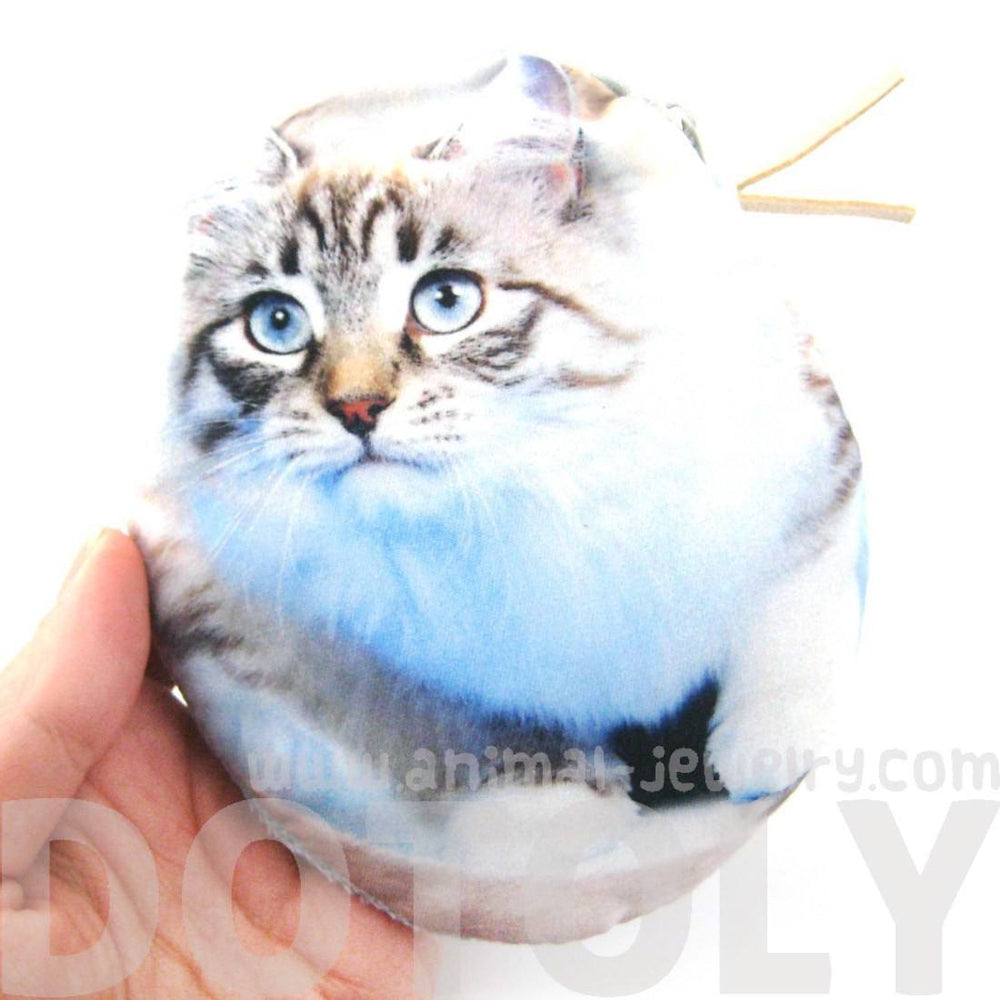 Grey Tabby Kitty Cat Oval Shaped Fabric Zipper Coin Purse Make Up Bag