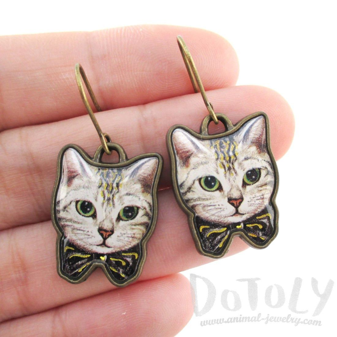 Grey Tabby Cat With a Bow Illustrated Dangle Earrings