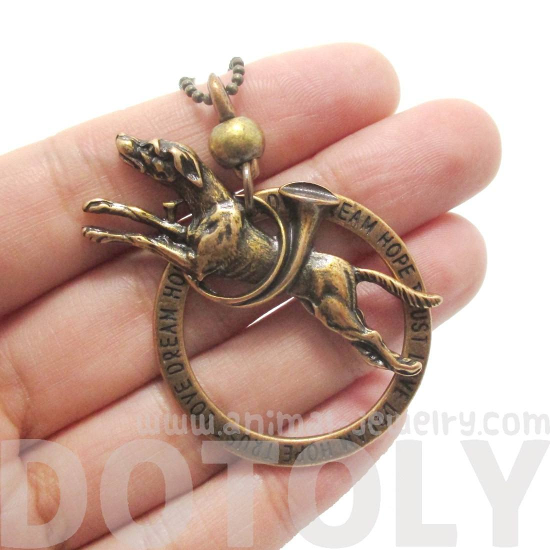 Greyhound Dog Jumping Shaped Pendant Necklace in Brass