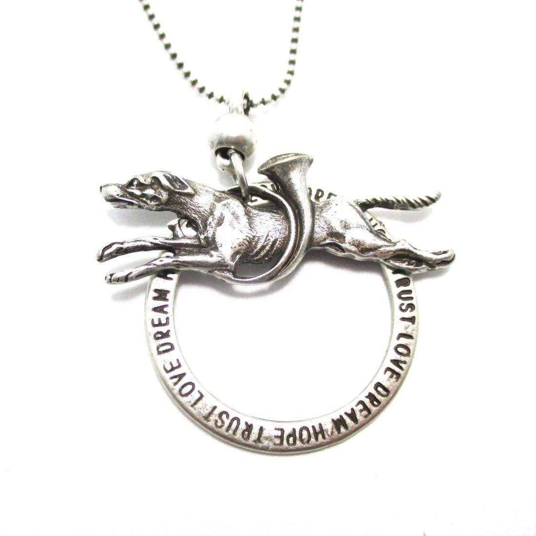 Greyhound Dog Jumping Shaped Pendant Necklace in Silver