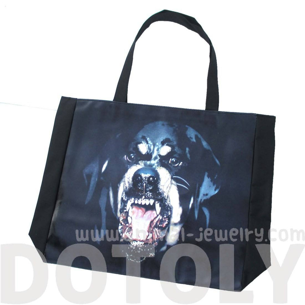 Growling Rottweiler Angry Barking Dog Print Rectangular Shopper Tote Shoulder Bag | DOTOLY | DOTOLY