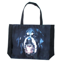 Growling Rottweiler Angry Barking Dog Print Shopper Tote Shoulder Bag