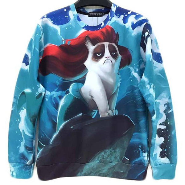 Grumpy Cat Mermaid Graphic Print Unisex Pullover Sweatshirt Sweater