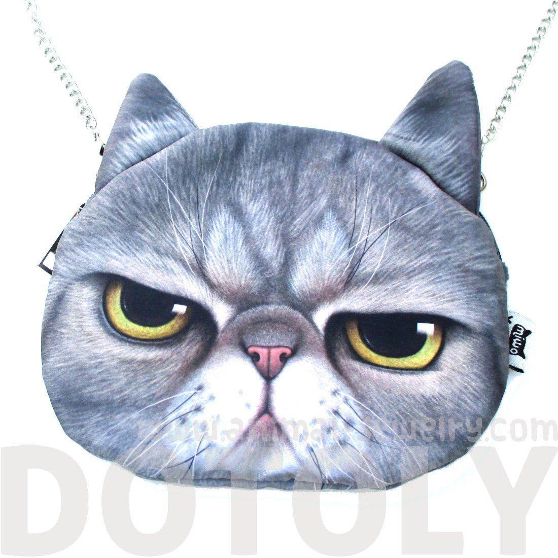 Grumpy Cat Face Shaped Grey Tabby Print Cross Body Shoulder Sling Bag