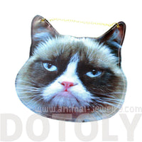 Grumpy Cat Face Shaped Vinyl Animal Themed Cross Shoulder Bag | DOTOLY