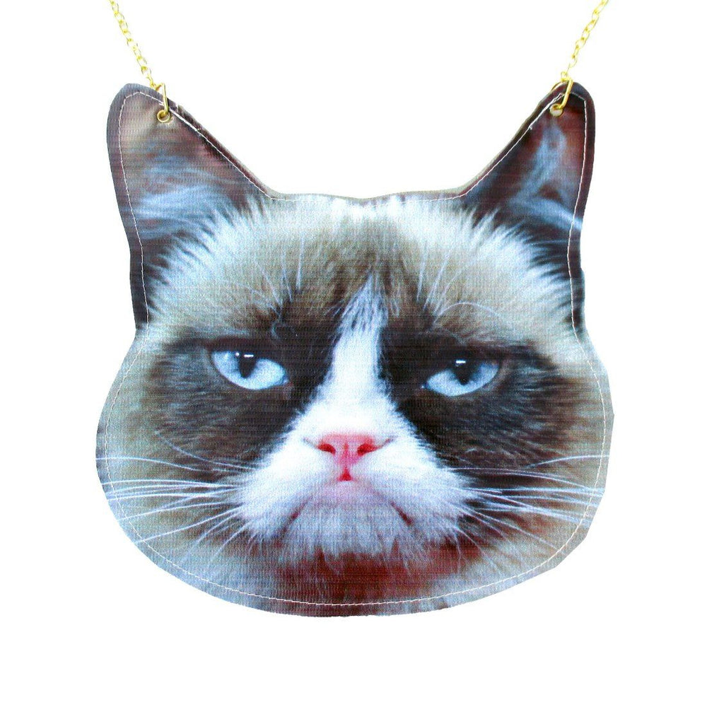 Grumpy Cat Face Shaped Vinyl Animal Themed Cross Shoulder Bag | DOTOLY | DOTOLY