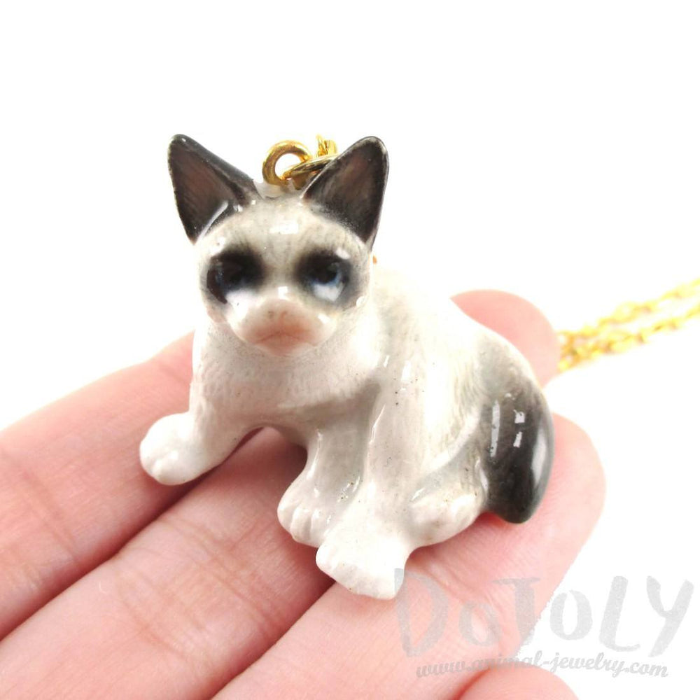 Grumpy Cat Siamese Kitty Porcelain Ceramic Animal Pendant Necklace