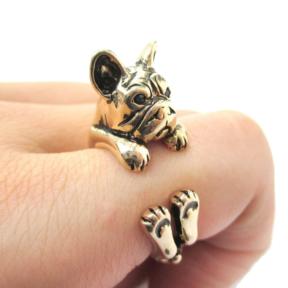Grumpy French Bulldog Dog Shaped Animal Wrap Around Ring in Shiny Gold