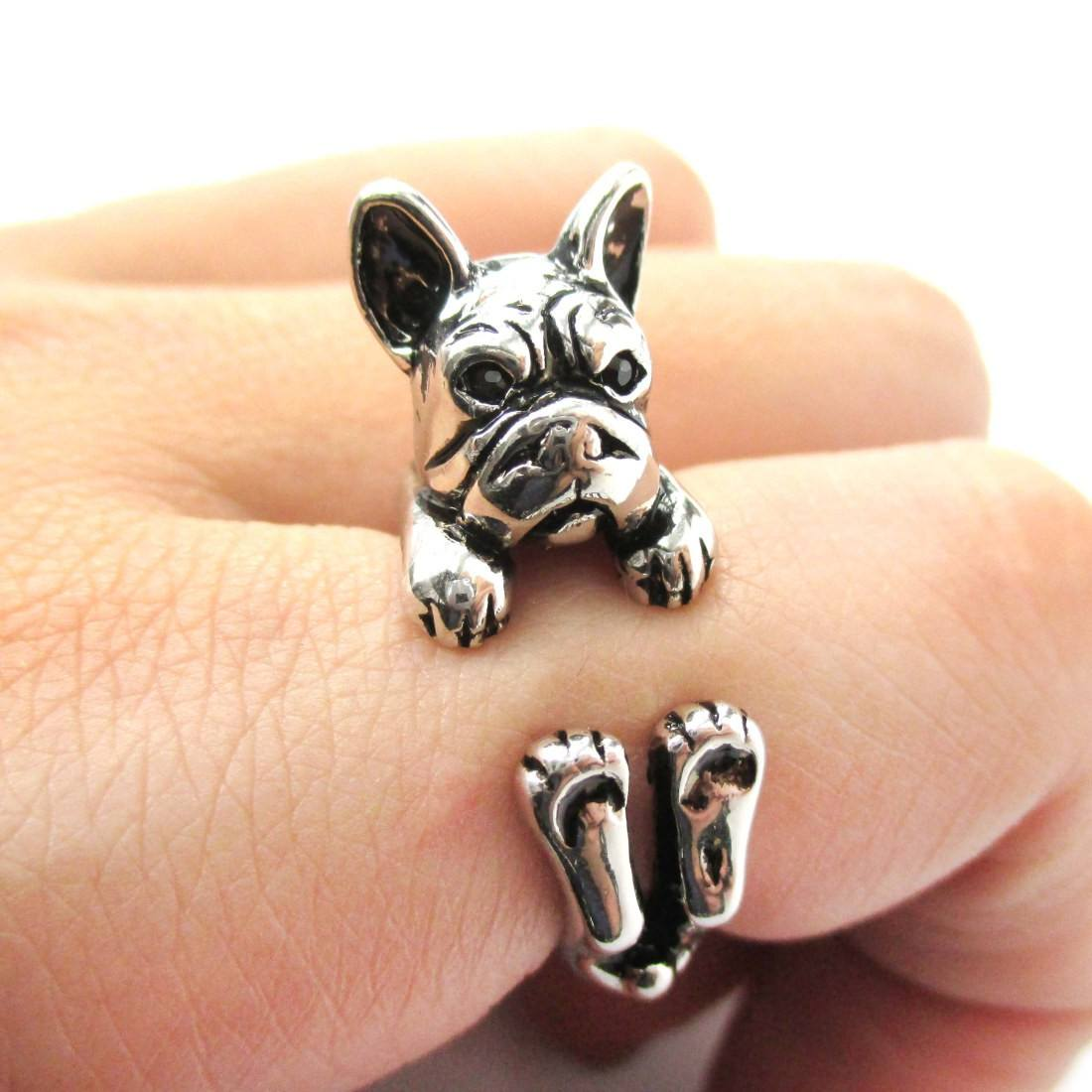 Grumpy French Bulldog Dog Shaped Animal Wrap Around Ring Shiny Silver