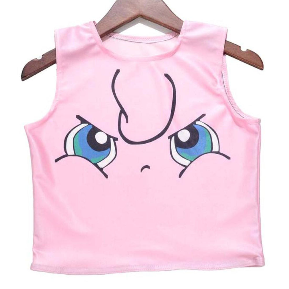 Grumpy Jigglypuff Print Pokemon Themed Sleeveless Crop Top for Women