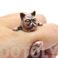 Grumpy Mustache Kitty Cat Shaped Animal Ring in Copper
