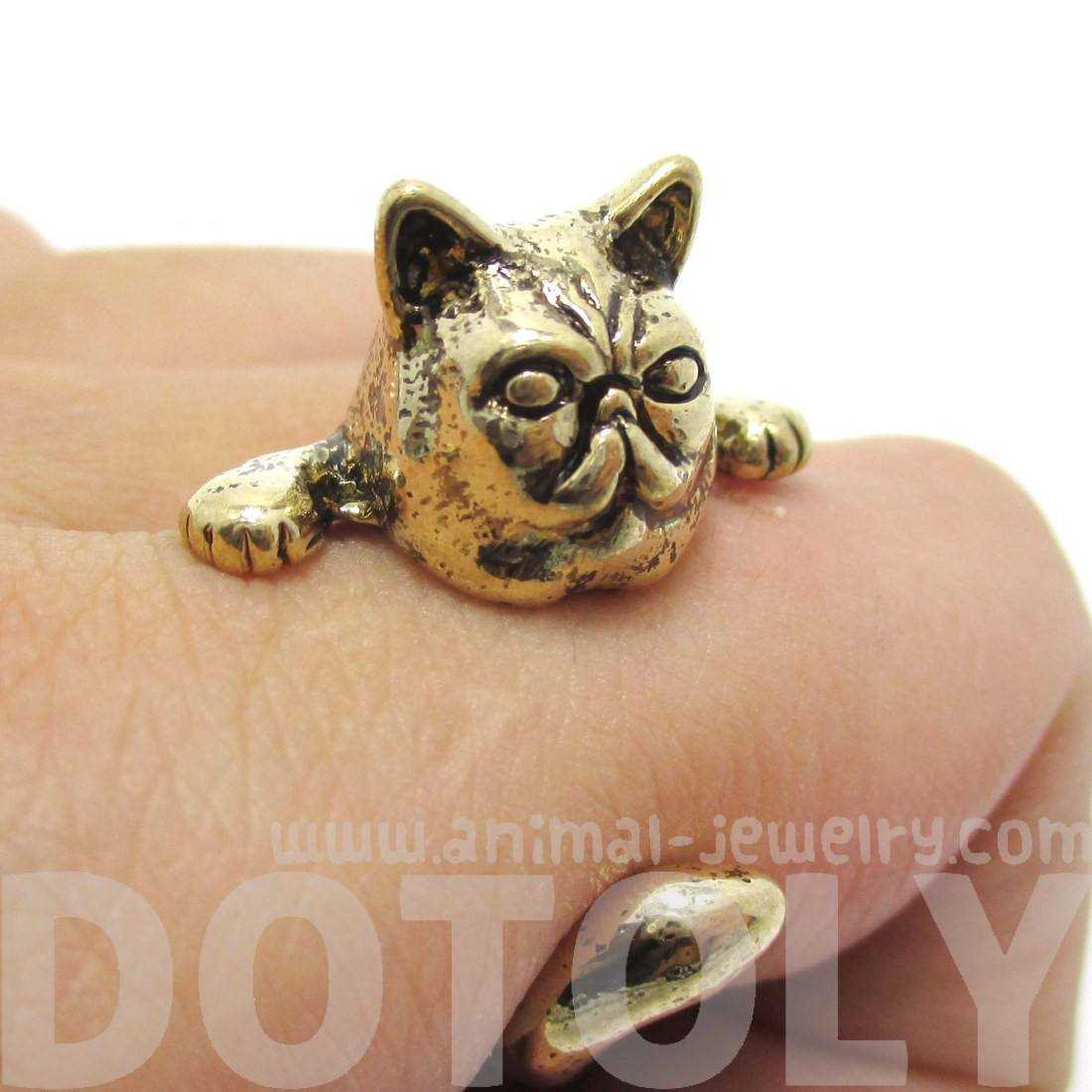Grumpy Mustache Cat Shaped Animal Ring in Shiny Gold