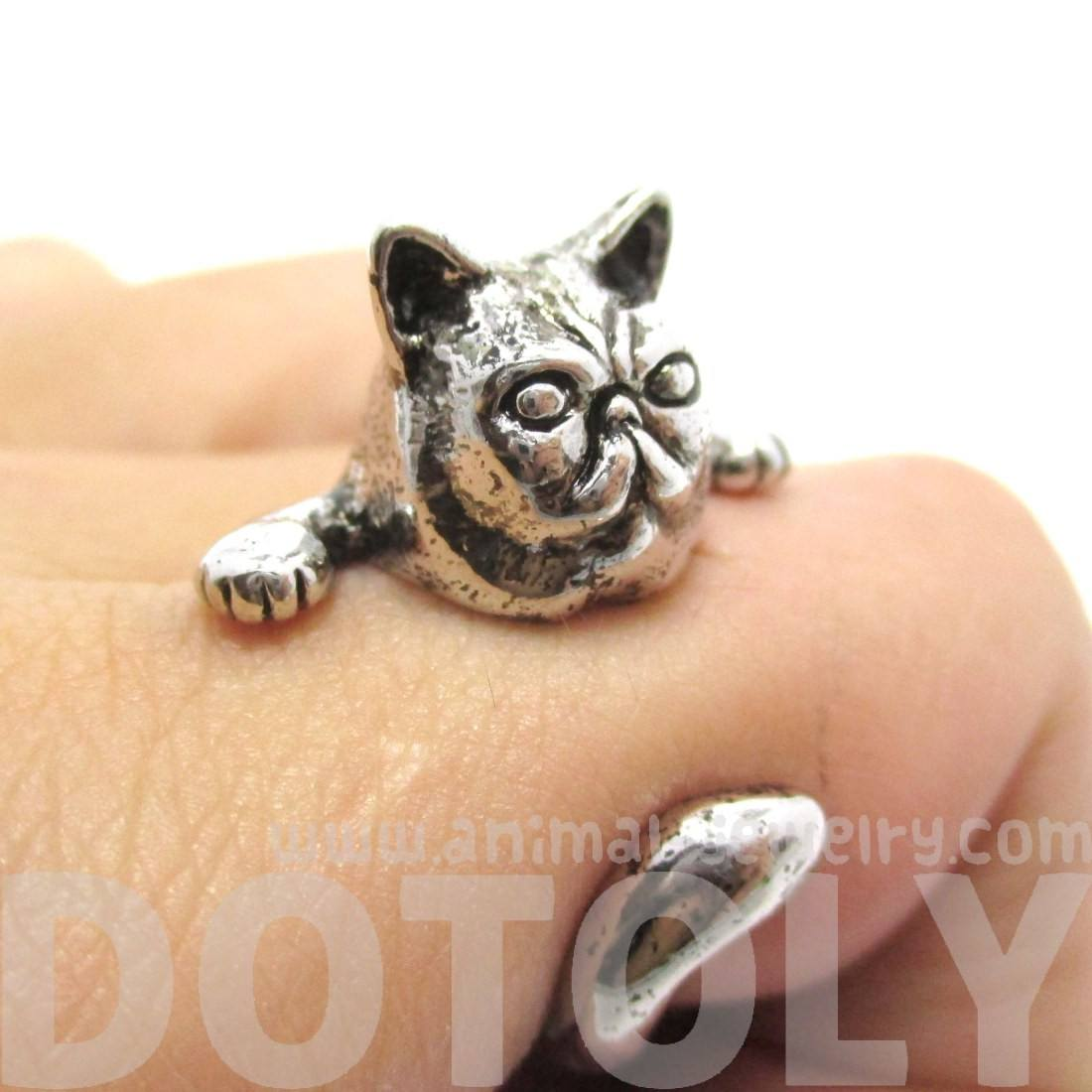 Grumpy Mustache Cat Shaped Animal Ring in Shiny Silver