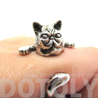 Grumpy Mustache Kitty Cat Shaped Animal Ring in Shiny Silver | US Size 3 to 8 | DOTOLY