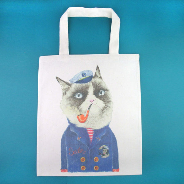 Grumpy Sailor Cat Smoking a Pipe Illustrated Canvas Shopper Tote Bag