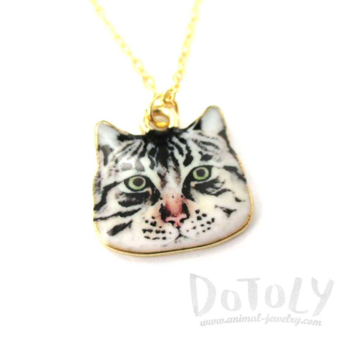 Grumpy Tabby Kitty Cat Face Shaped Charm Necklace