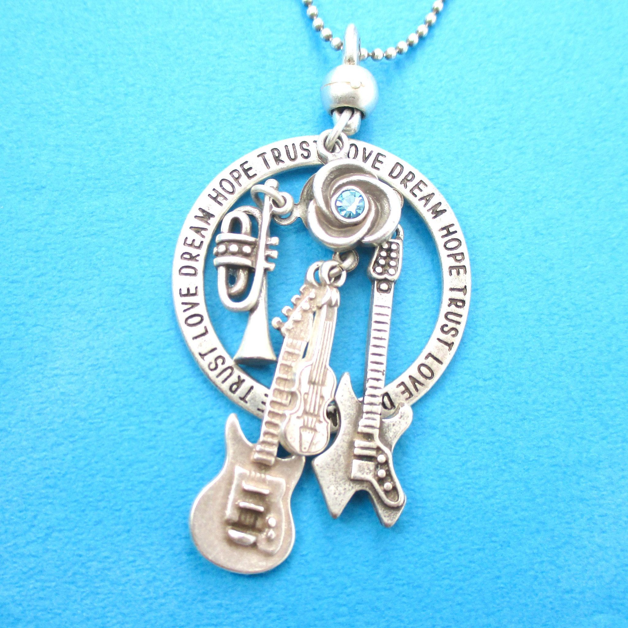 Guitar Violin Trumpet Musical Instrument Themed Charm Necklace in Silver