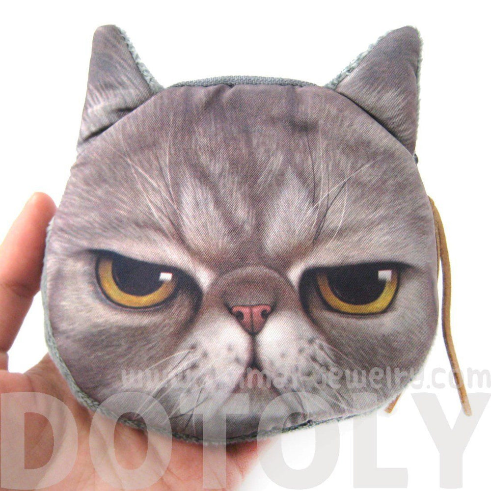 Gumpy Cat Kitty Tabby Face Shaped Soft Fabric Coin Purse Make Up Bag