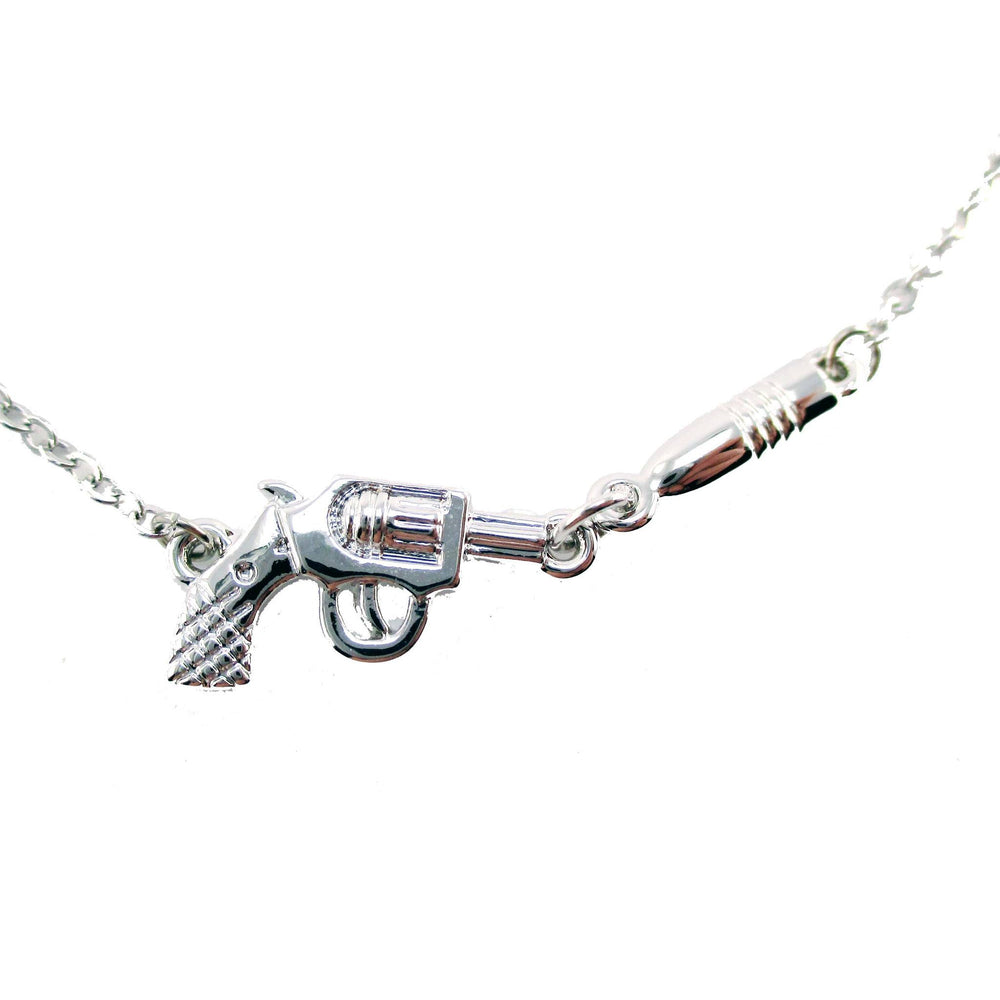 Gun and Bullet Revolver Shaped Charm Necklace in Silver | DOTOLY