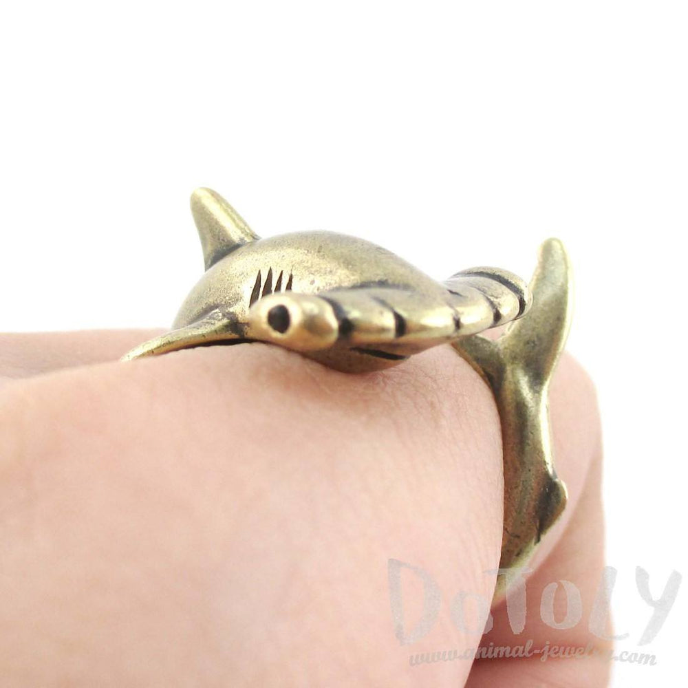3D Hammerhead Shark Shaped Wrap Around Ring in Brass
