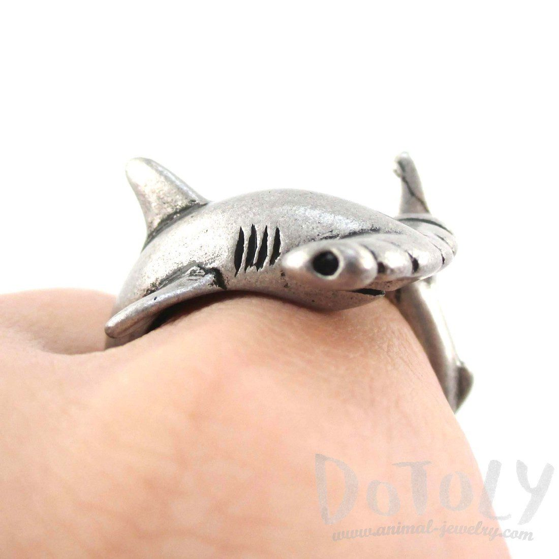 3d hammerhead shark shaped wrap around ring in silver for Little fairy door shark tank