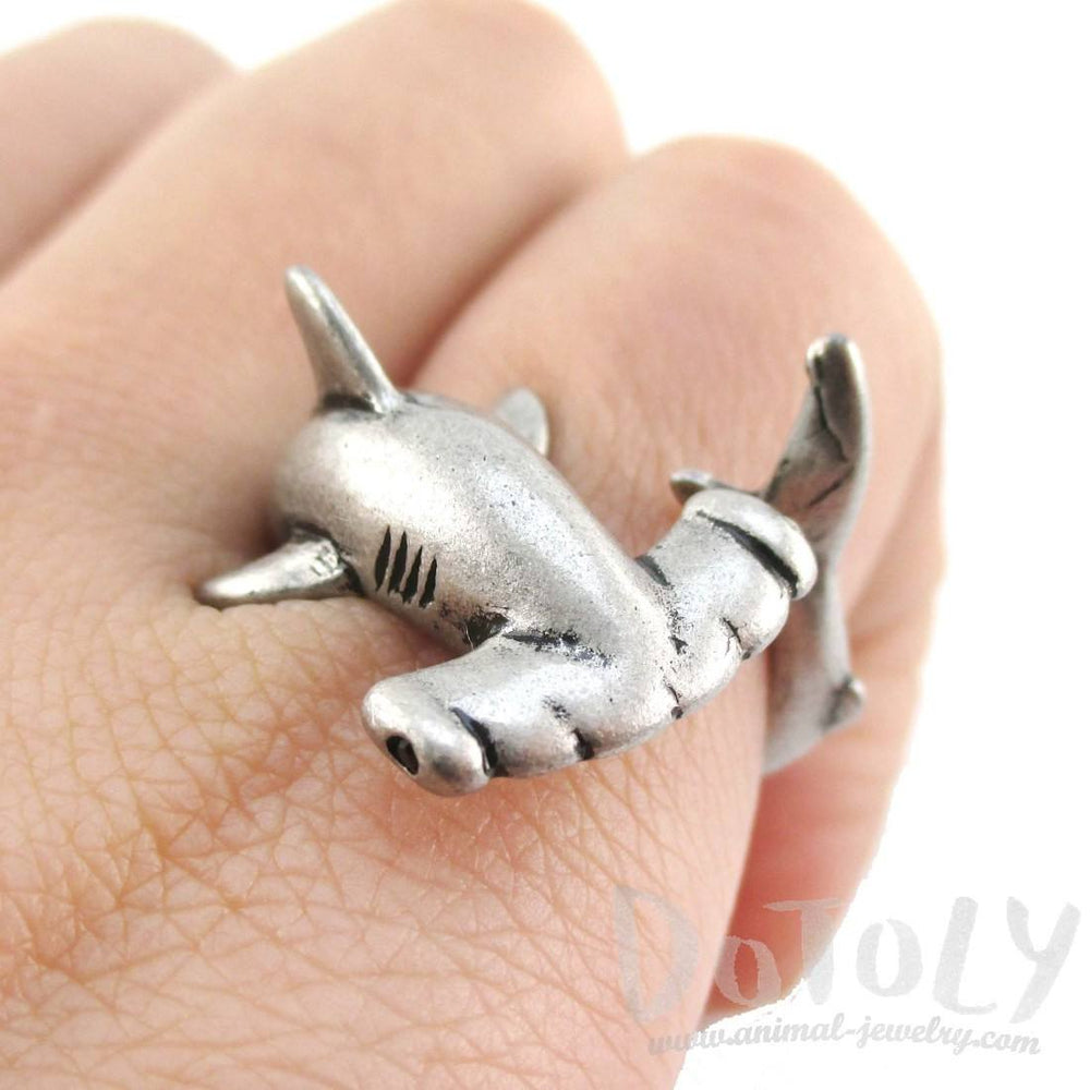 3D Hammerhead Shark Shaped Wrap Around Ring in Silver