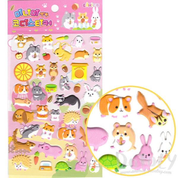 Cute Hamsters Porcupines Squirrels and Bunnies Shaped Puffy Stickers