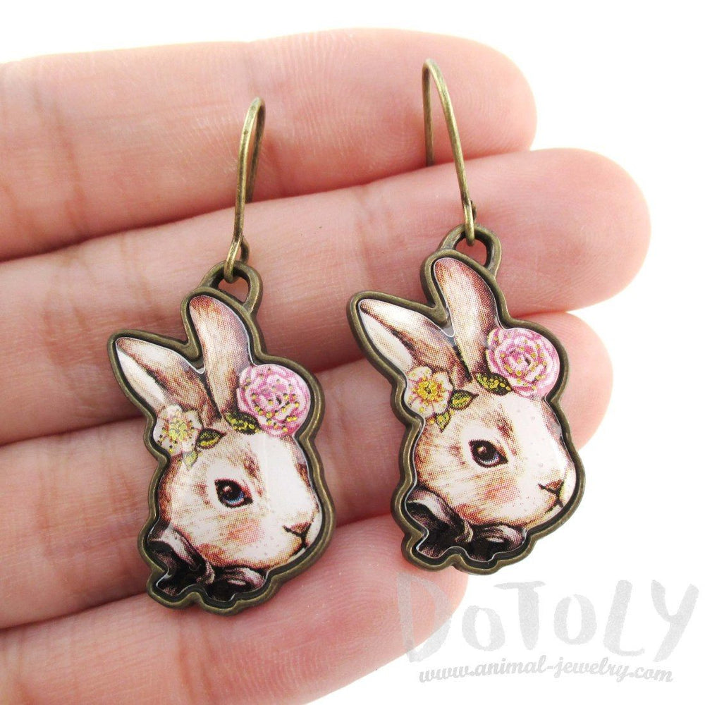 Hand Drawn Bunny Rabbit Hare Shaped Dangle Earrings
