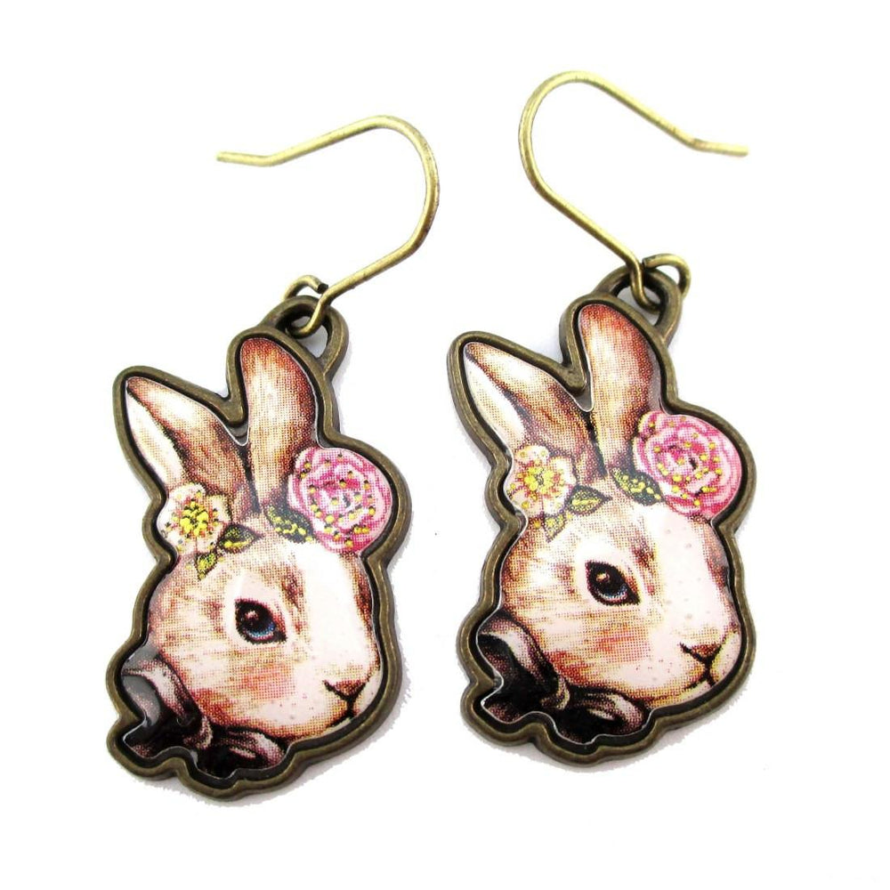 Hand Drawn Illustrated Bunny Rabbit Hare Shaped Dangle Earrings with Floral Details | DOTOLY